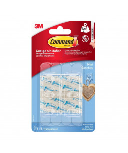 Command™ Mini Clear Hooks with Clear Strips 17006CLR