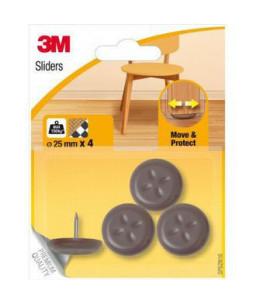 SP62N16 3M Ολισθητήρες Αντικειμένων Καρφωτοί O25mm-Καφέ