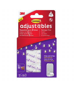 Command™ Adjustables™ Repositionable Clips 12 Clips+24 strips 17840CLR